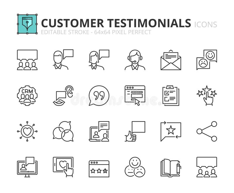 Outline icons about customer testimonials. Editable stroke. 64x64 pixel perfect stock illustration