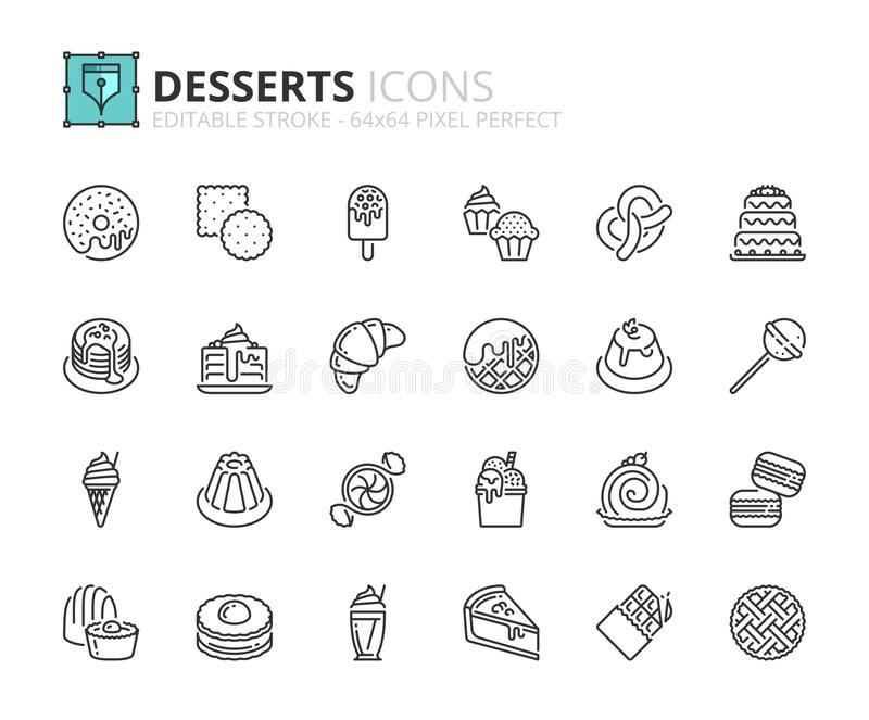 Outline icons about desserts and sweets. Food and drink. Editable stroke. 64x64 pixel perfect royalty free illustration