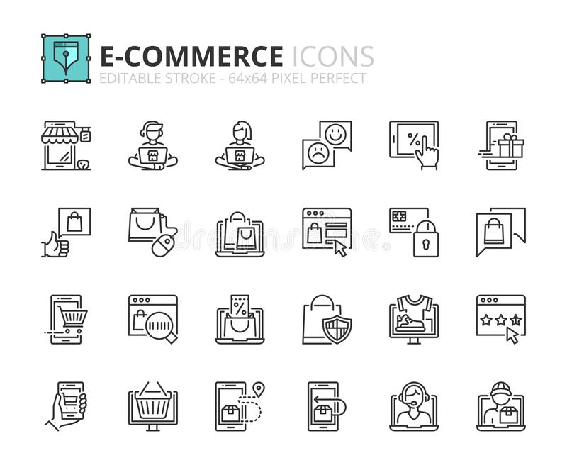 Outline icons about ecommerce royalty free illustration