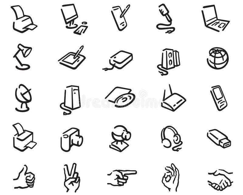 Outline icons of office equipment royalty free illustration