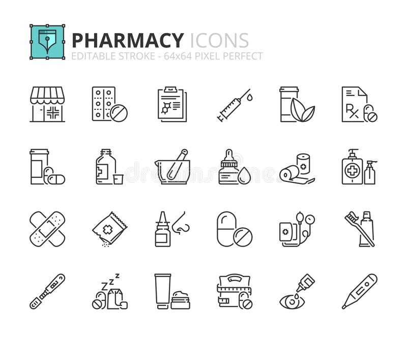Outline icons about pharmacy. Editable stroke. 64x64 pixel perfect stock illustration
