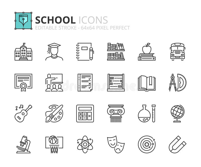 Outline icons about school royalty free illustration