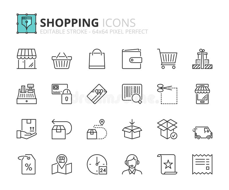 Outline icons about shopping vector illustration