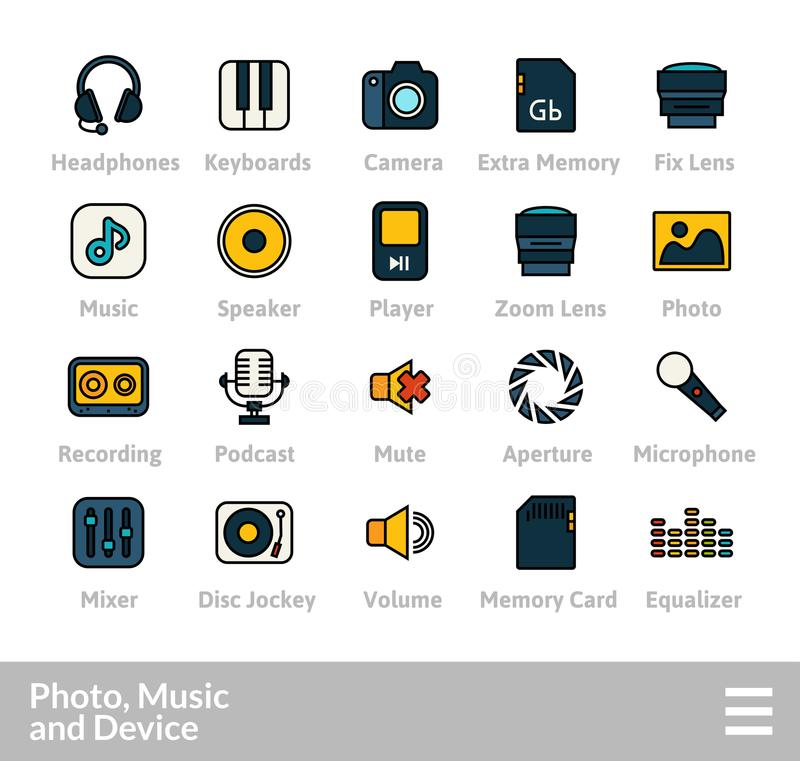 Outline icons thin flat design, modern line stroke style. Web and mobile design element, objects and vector illustration icons set 11 - audio and photo stock illustration