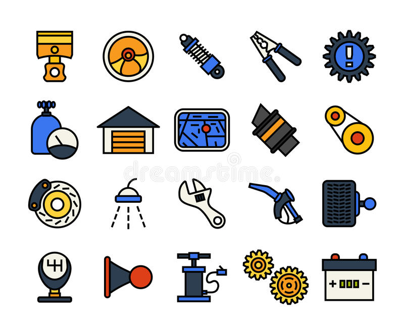 Outline icons thin flat design, modern line stroke. Style, web and mobile design element, objects and vector illustration icons set 24 - car parts and services vector illustration