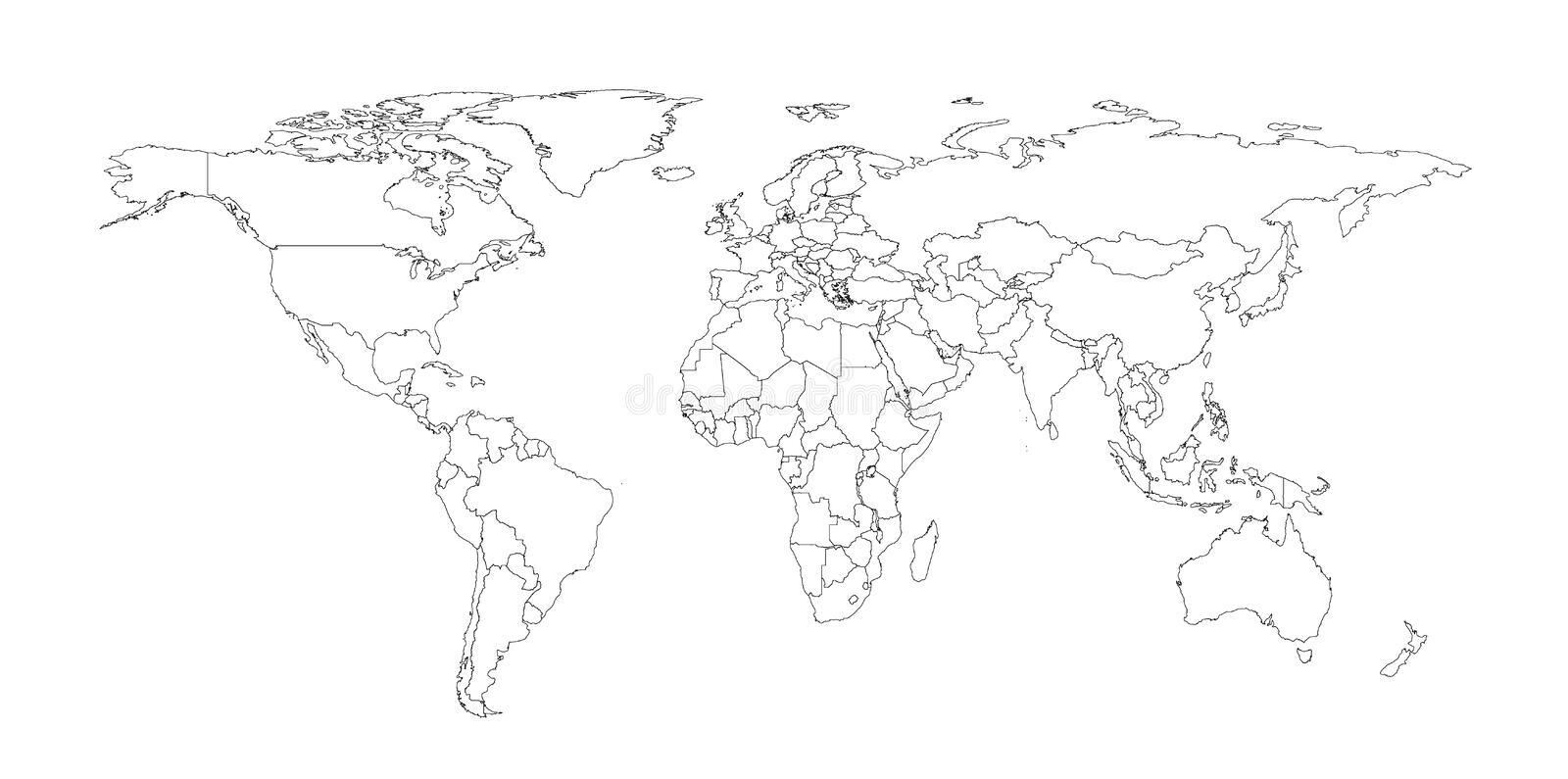 Outline Illustration of the world with country borders royalty free illustration