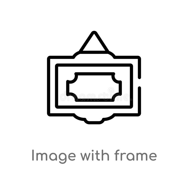 outline image with frame vector icon. isolated black simple line element illustration from user interface concept. editable vector stock illustration