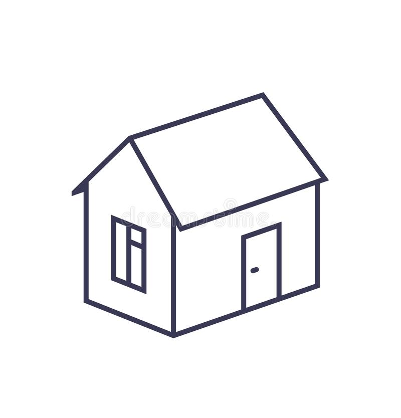 Outline image of a house on a white background. stock illustration