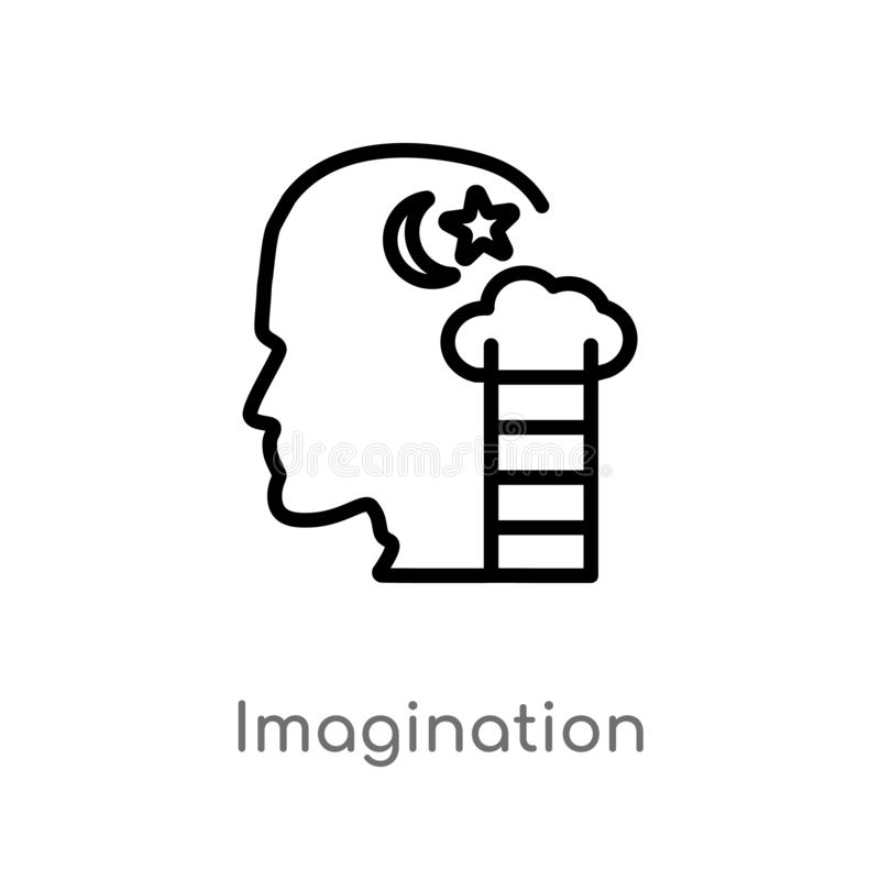 Outline imagination vector icon. isolated black simple line element illustration from brain process concept. editable vector. Stroke imagination icon on white royalty free illustration
