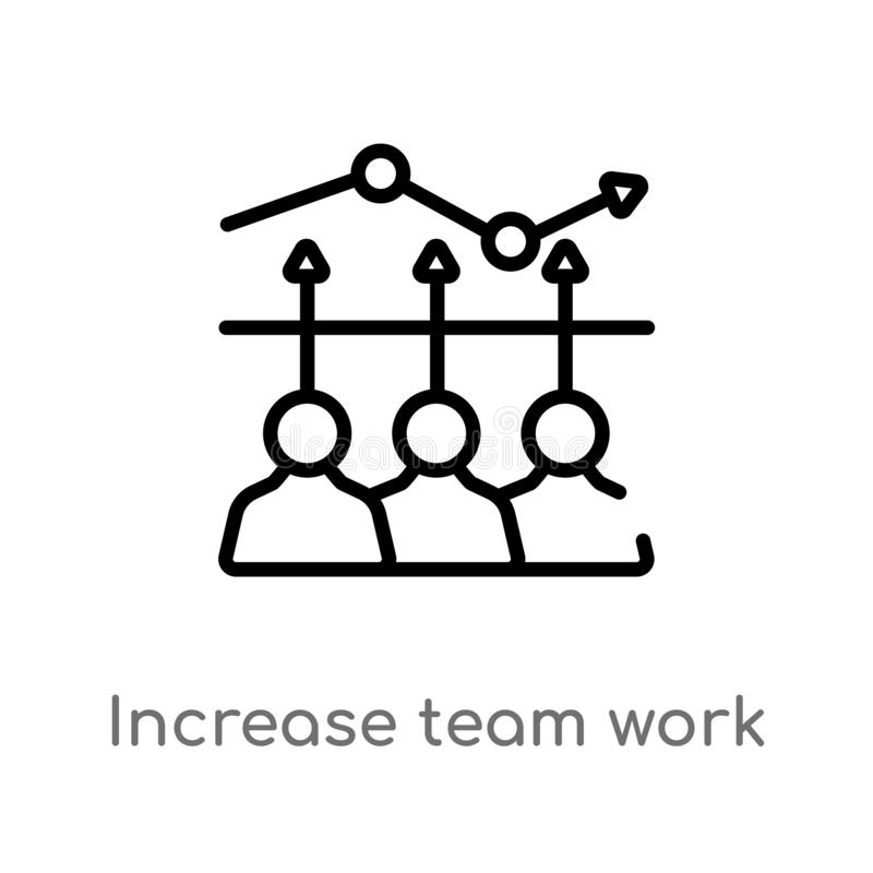 outline increase team work vector icon. isolated black simple line element illustration from business concept. editable vector vector illustration