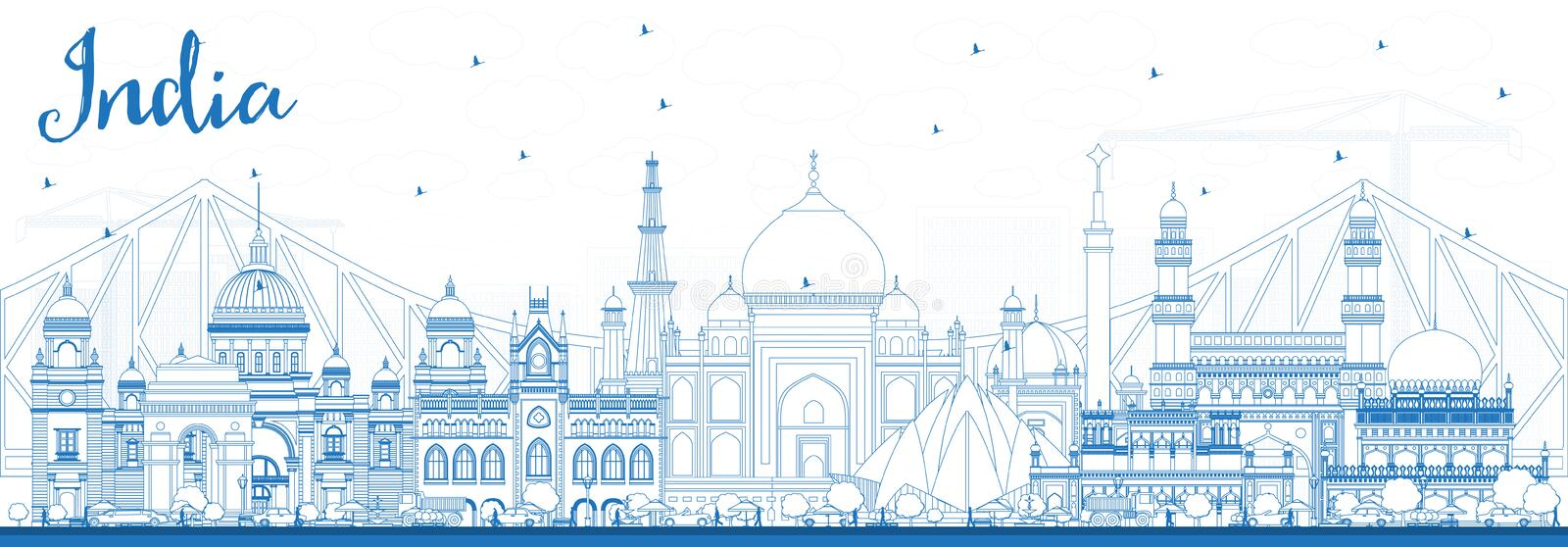 Outline India City Skyline with Blue Buildings. Delhi. Hyderabad. Kolkata. Vector Illustration. Travel and Tourism Concept with Historic Architecture. India stock illustration