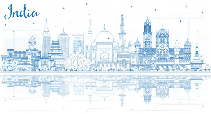 Outline India City Skyline with Blue Buildings. Delhi. Mumbai, Bangalore, Chennai. Vector Illustration. Business Travel and Tourism Concept with Historic royalty free illustration