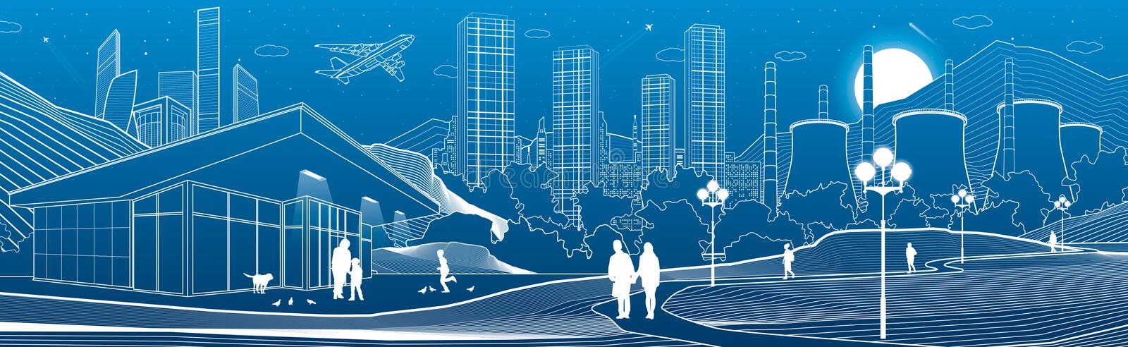Outline industry and city illustration panorama. Evening town urban scene. People walking at garden. Night shop. Power Plant in mo royalty free illustration