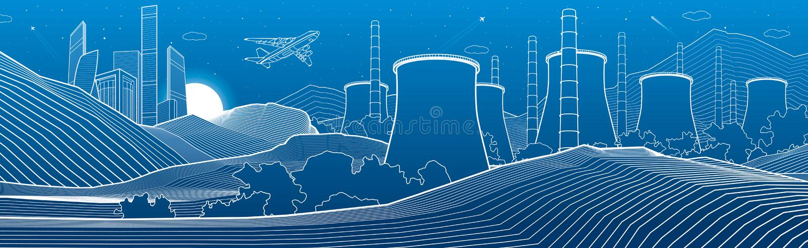 Outline industry illustration panoramic. Night city scene. Power Plant in mountains. White lines on blue background. Vector design stock illustration