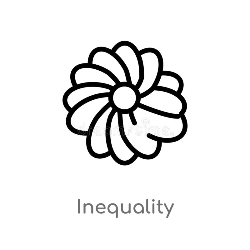 outline inequality vector icon. isolated black simple line element illustration from zodiac concept. editable vector stroke royalty free illustration