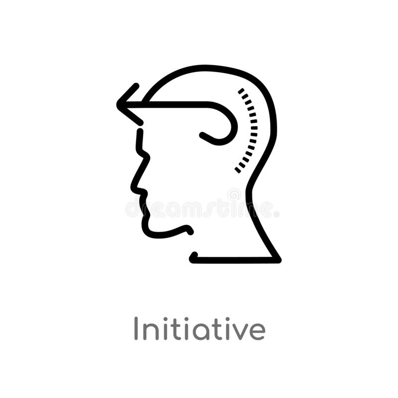 Outline initiative vector icon. isolated black simple line element illustration from brain process concept. editable vector stroke. Initiative icon on white stock illustration