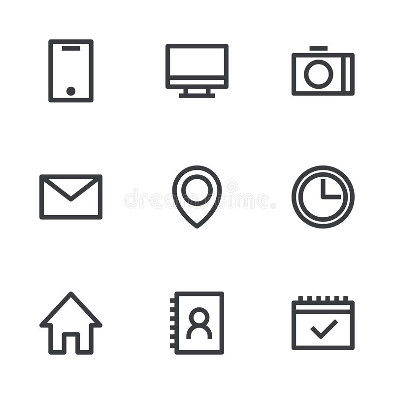 Outline interface icons. Vector icons. Information symbols. Business card elements stock illustration