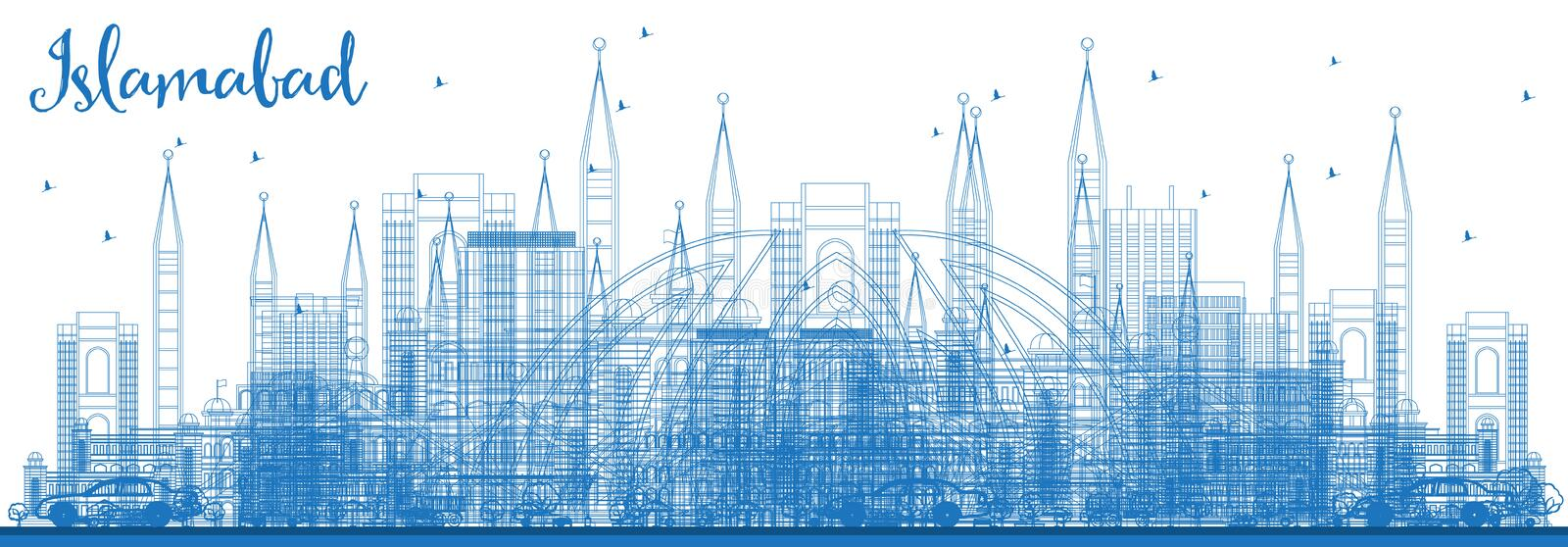 Outline Islamabad Pakistan City Skyline with Blue Buildings. Vector Illustration. Business Travel and Tourism Concept with Historic Architecture. Islamabad vector illustration