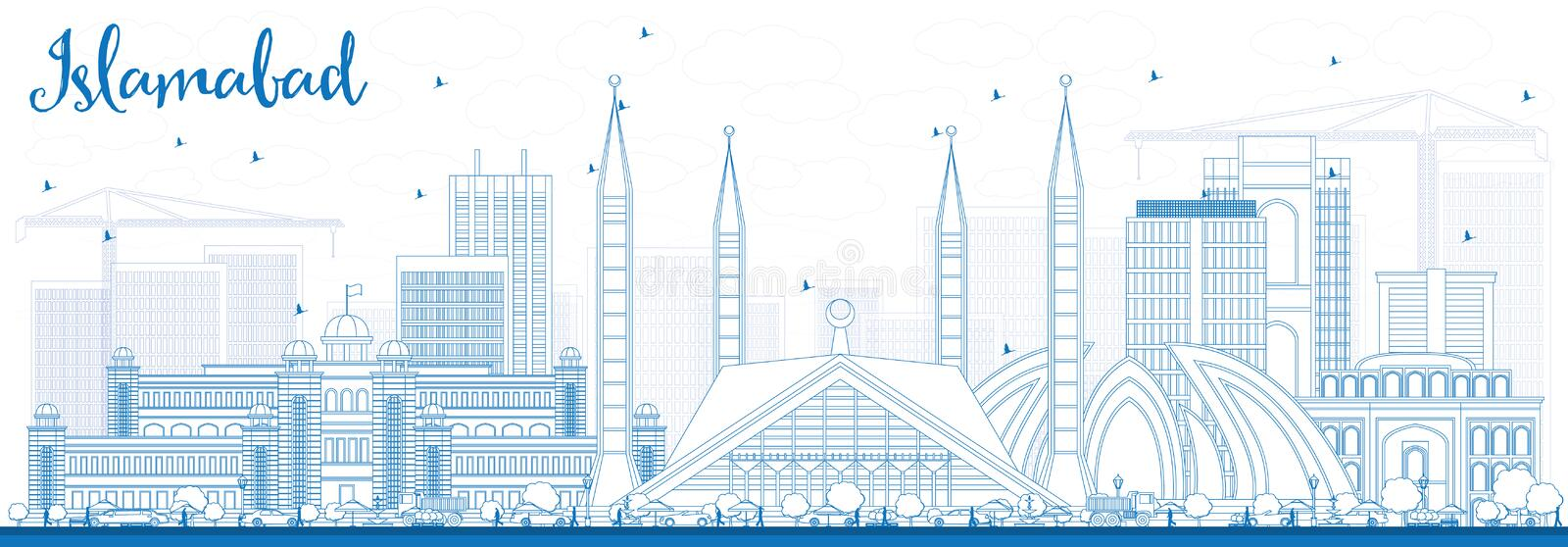 Outline Islamabad Skyline with Blue Buildings. Vector Illustration. Business Travel and Tourism Concept with Historic Architecture. Image for Presentation vector illustration
