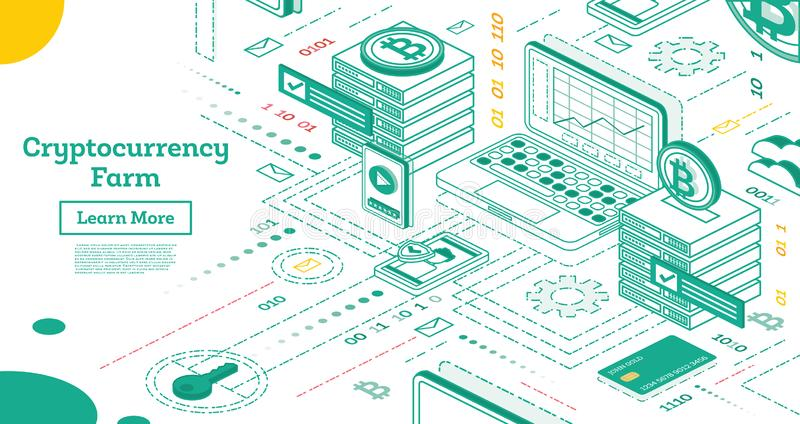 Outline Isometric Cryptocurrency Farm. Mining Servers royalty free illustration