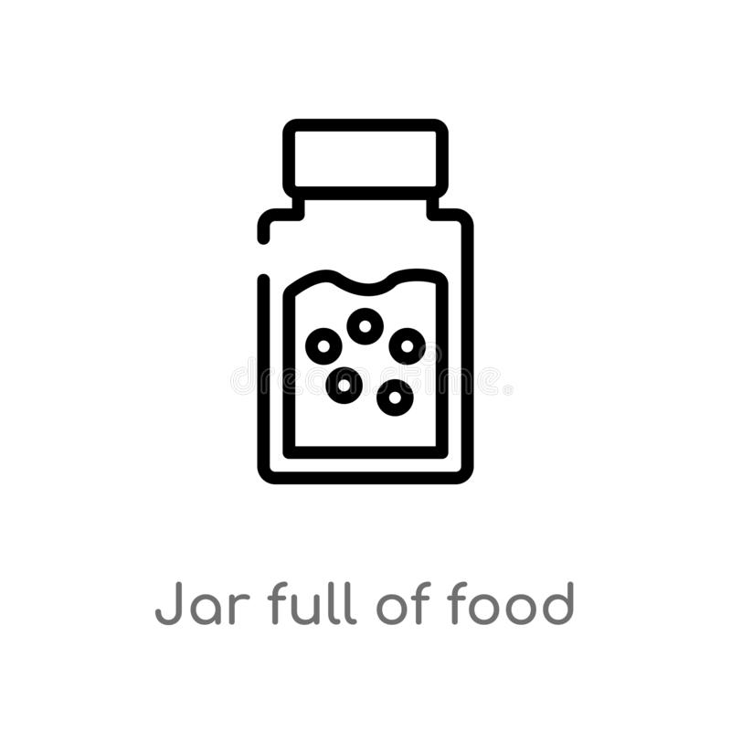 outline jar full of food vector icon. isolated black simple line element illustration from bistro and restaurant concept. editable stock illustration