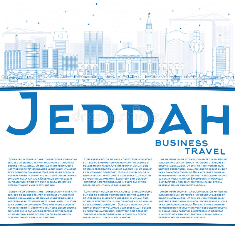 Outline Jeddah Skyline with Blue Buildings and Copy Space. stock illustration