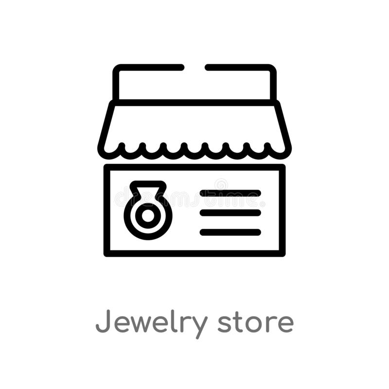 outline jewelry store vector icon. isolated black simple line element illustration from luxury concept. editable vector stroke royalty free illustration