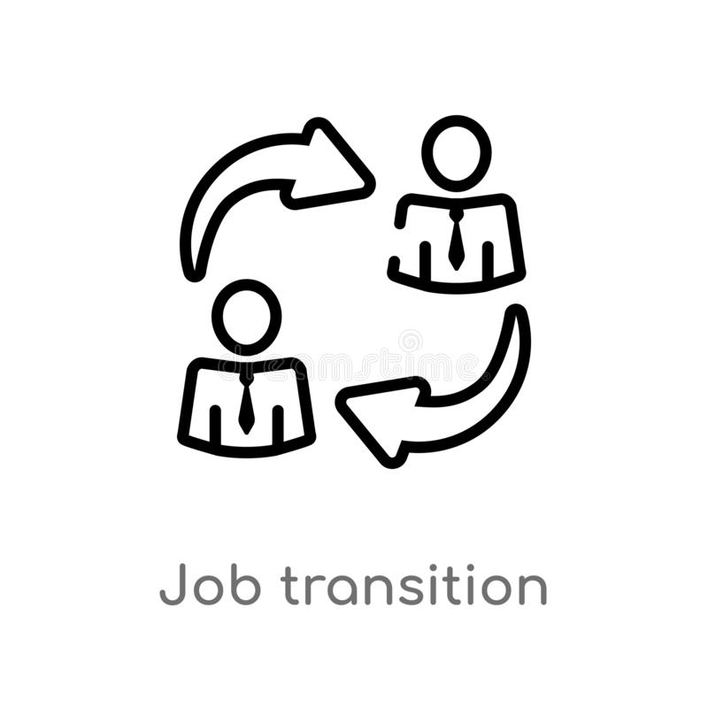 outline job transition vector icon. isolated black simple line element illustration from user interface concept. editable vector royalty free illustration