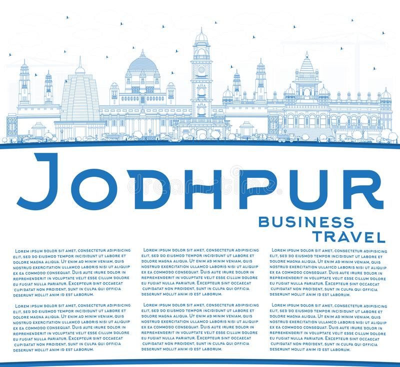 Outline Jodhpur India City Skyline with Blue Buildings and Copy Space. Vector Illustration. Business Travel and Concept with Historic Architecture. Jodhpur vector illustration