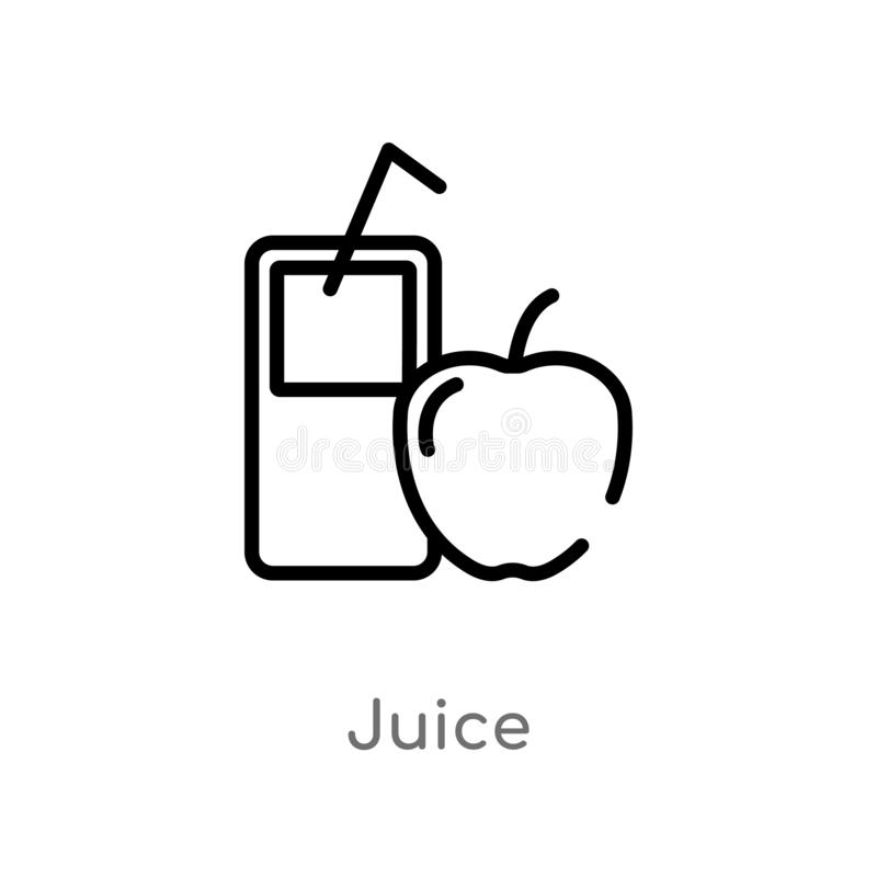 Outline juice vector icon. isolated black simple line element illustration from health concept. editable vector stroke juice icon. On white background stock illustration