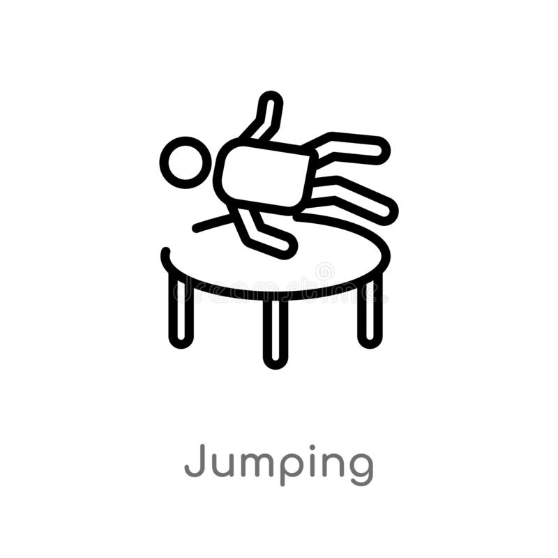 outline jumping vector icon. isolated black simple line element illustration from free time concept. editable vector stroke stock illustration