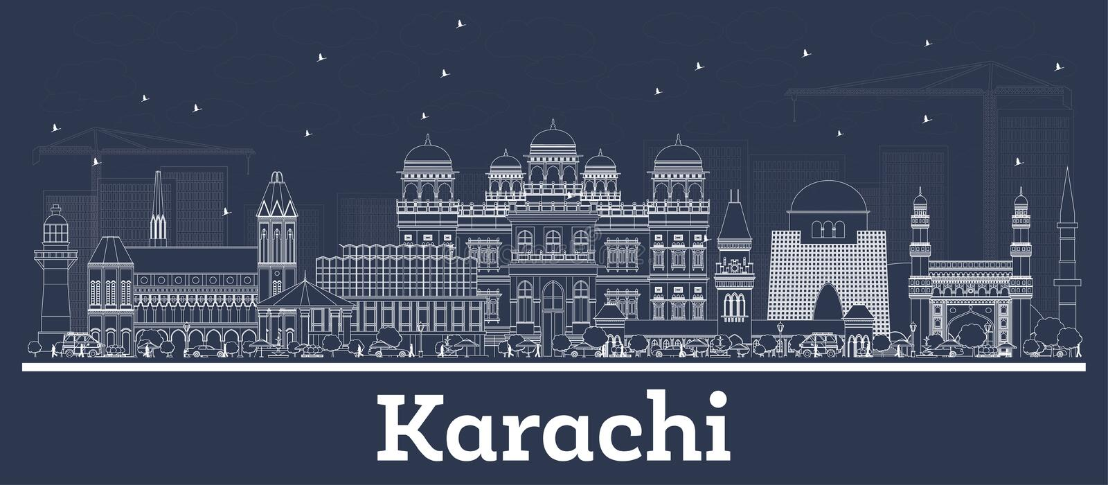 Outline Karachi Pakistan City Skyline with White Buildings. Vector Illustration. Business Travel and Concept with Historic Architecture. Karachi Cityscape with royalty free illustration