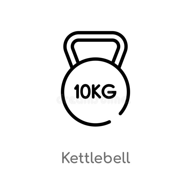 outline kettlebell vector icon. isolated black simple line element illustration from health concept. editable vector stroke royalty free illustration