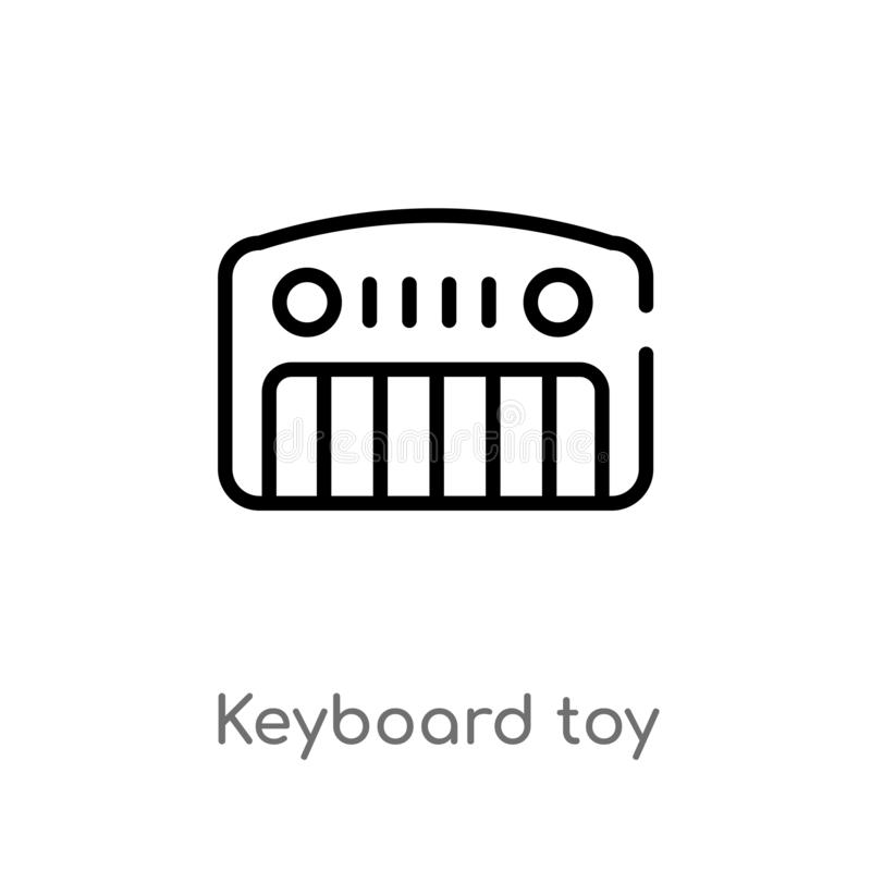 outline keyboard toy vector icon. isolated black simple line element illustration from toys concept. editable vector stroke royalty free illustration