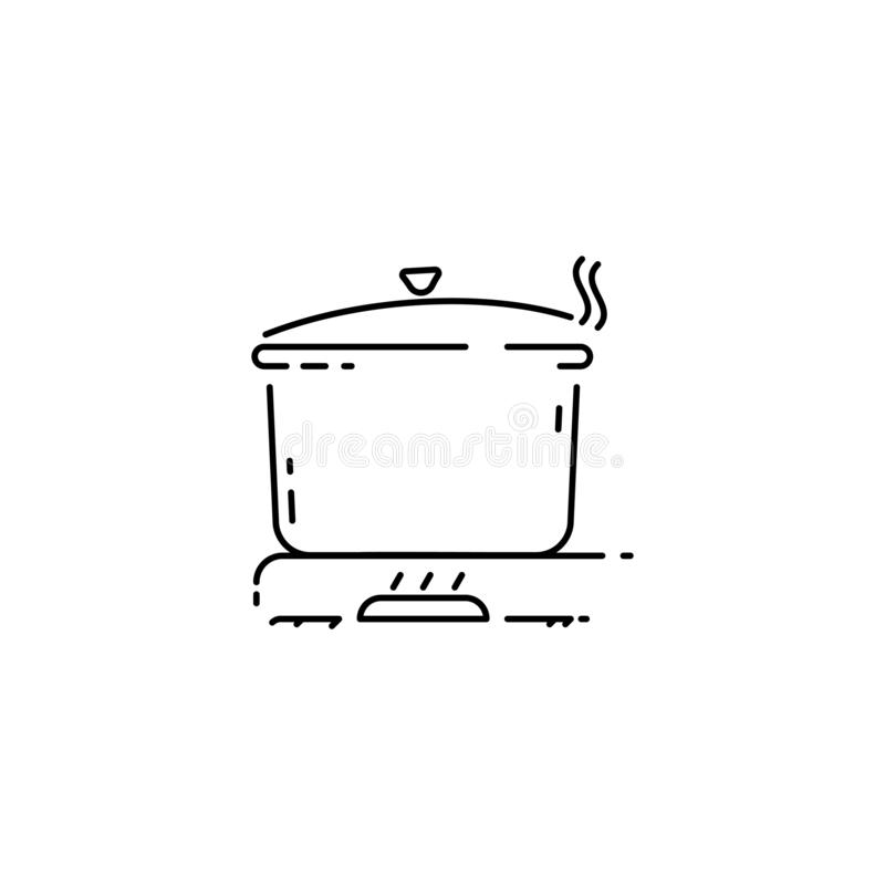 Outline kitchen pan icon with cook gas stove turned on. Editable stroke line for motion graphics in vector illustration stock illustration