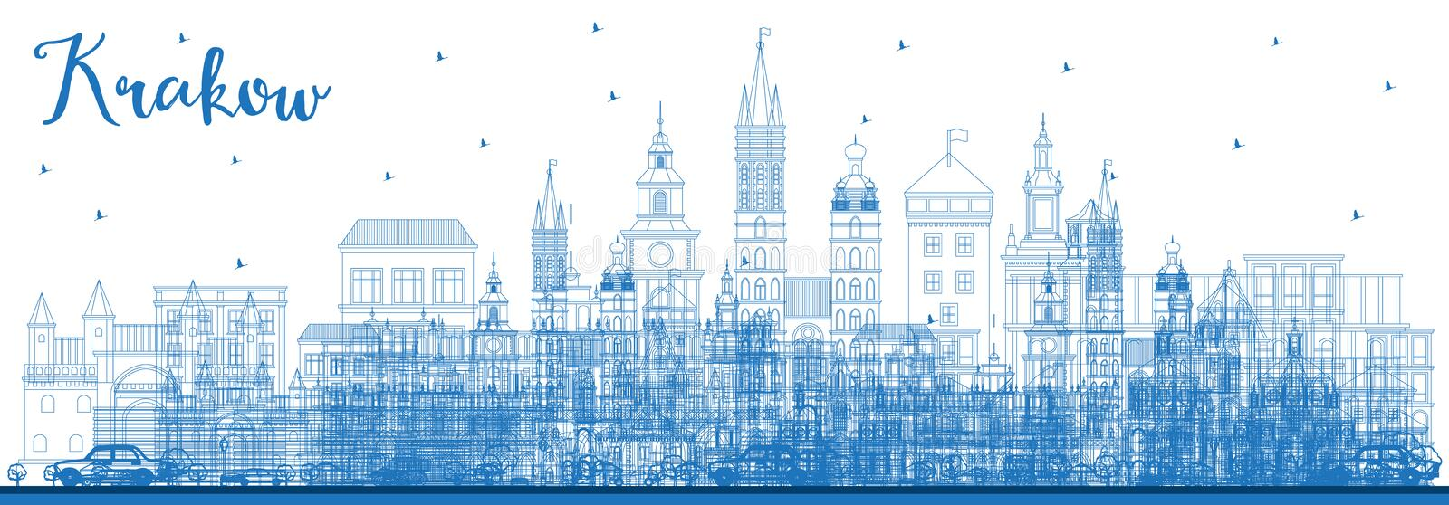 Outline Krakow Poland City Skyline with Blue Buildings. Vector Illustration. Business Travel and Tourism Concept with Historic Architecture. Krakow Cityscape vector illustration