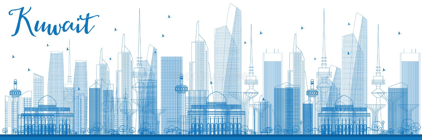 Outline kuwait city skyline with blue buildings stock vector download outline kuwait city skyline with blue buildings stock vector illustration of city malvernweather Gallery
