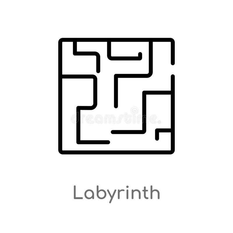 outline labyrinth vector icon. isolated black simple line element illustration from greece concept. editable vector stroke stock illustration