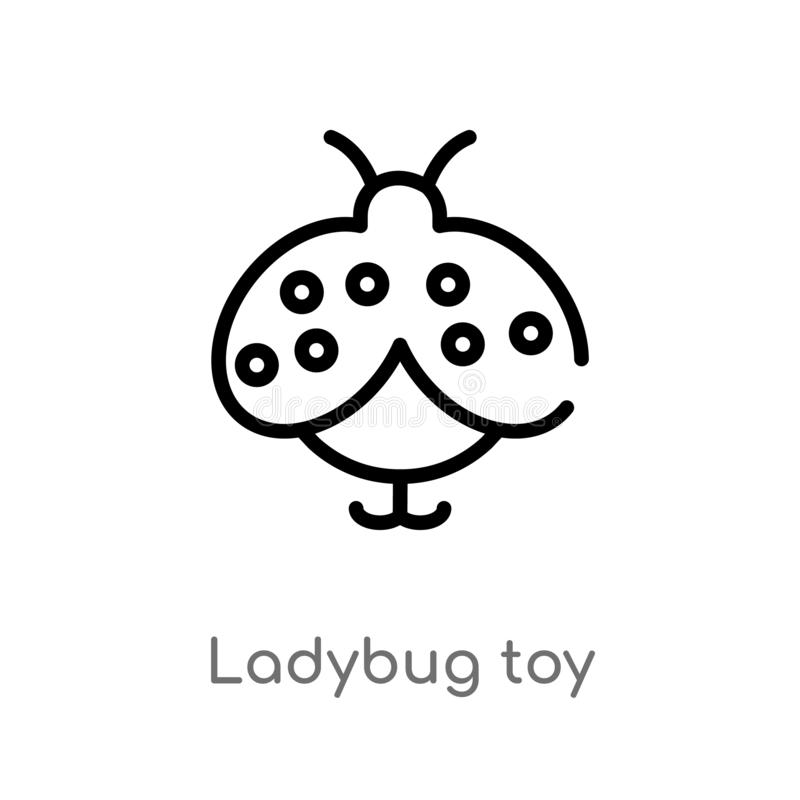Outline ladybug toy vector icon. isolated black simple line element illustration from toys concept. editable vector stroke ladybug. Toy icon on white background stock illustration