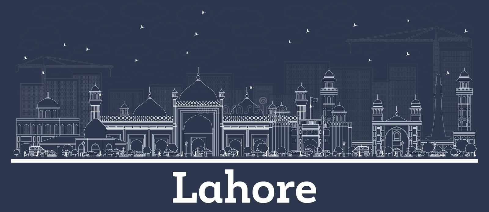 Outline Lahore Pakistan City Skyline with White Buildings. Vector Illustration. Business Travel and Tourism Concept with Historic Architecture. Lahore vector illustration