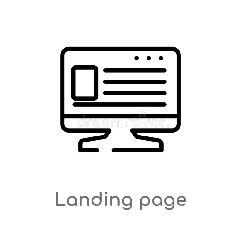 outline landing page vector icon. isolated black simple line element illustration from big data concept. editable vector stroke stock illustration