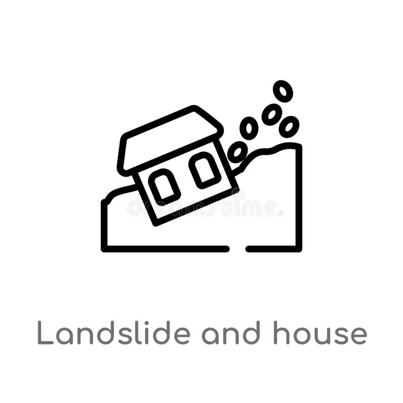 Outline landslide and house vector icon. isolated black simple line element illustration from meteorology concept. editable vector. Stroke landslide and house royalty free illustration