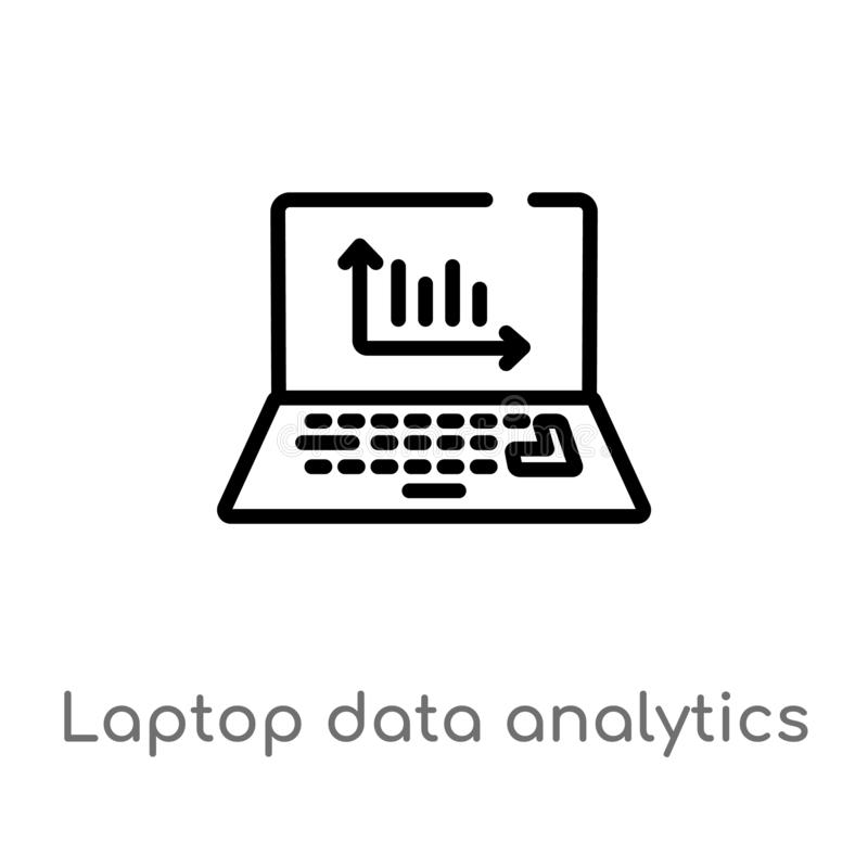 Outline laptop data analytics graphic on screen with circles vector icon. isolated black simple line element illustration from. Computer concept. editable vector illustration