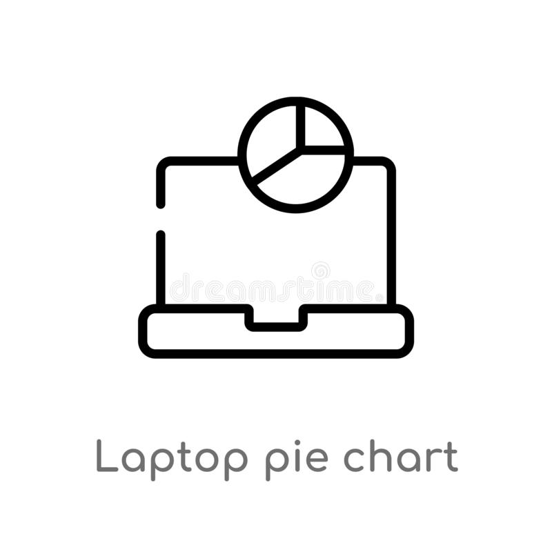 outline laptop pie chart on screen vector icon. isolated black simple line element illustration from computer concept. editable stock illustration