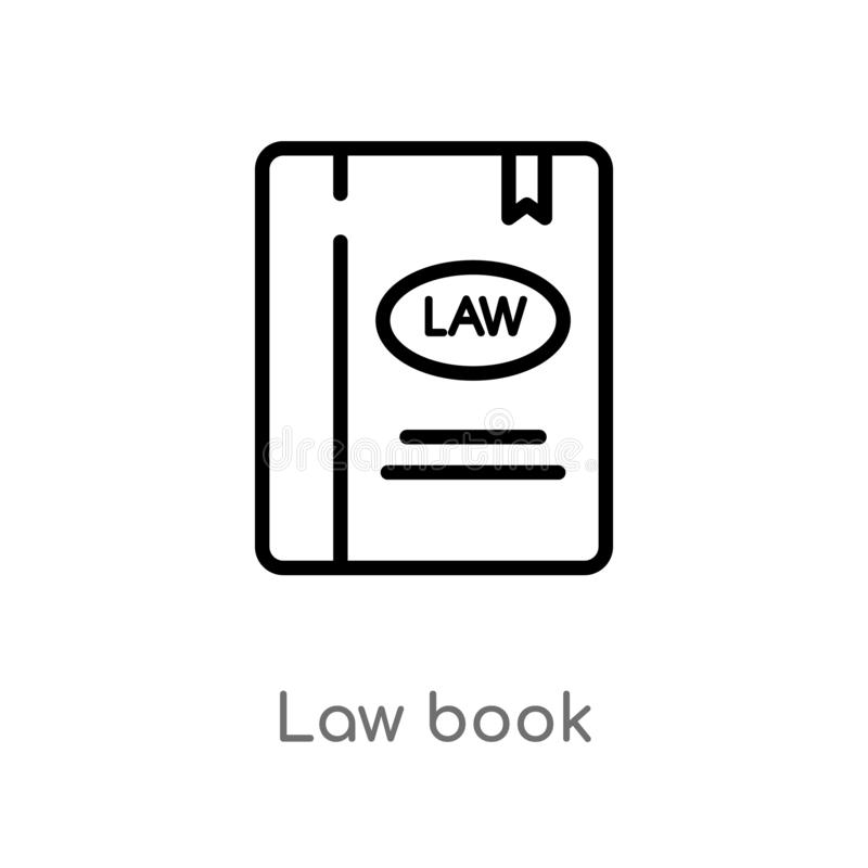 Outline law book vector icon. isolated black simple line element illustration from law and justice concept. editable vector stroke. Law book icon on white stock illustration