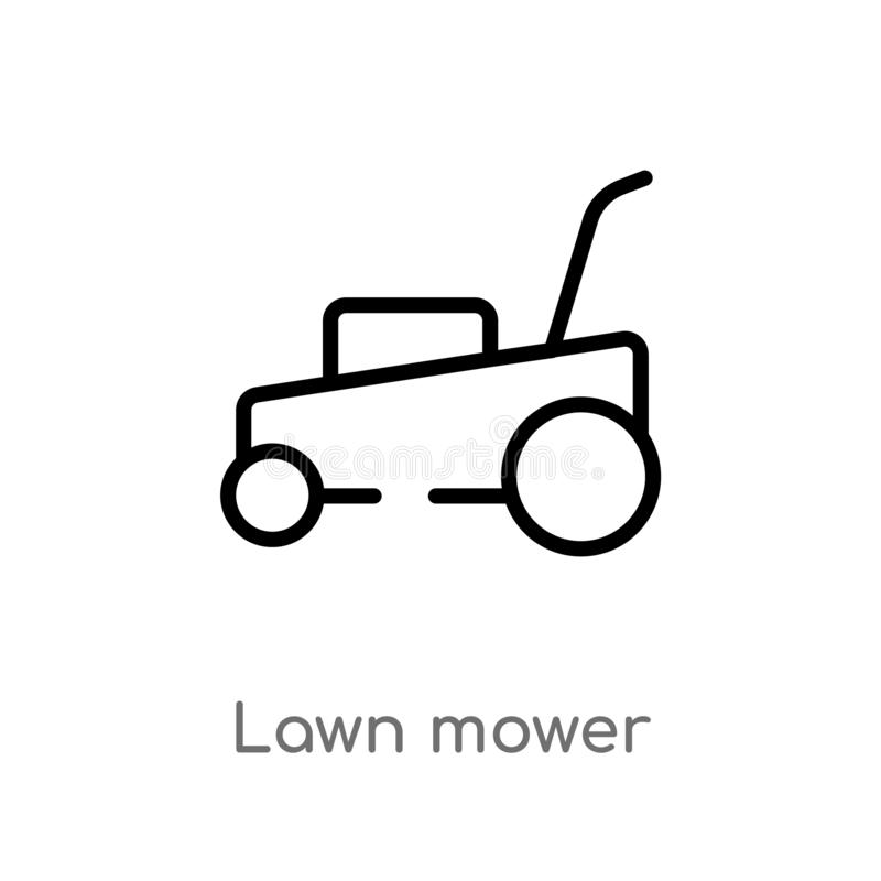 Outline lawn mower vector icon. isolated black simple line element illustration from cleaning concept. editable vector stroke lawn. Mower icon on white royalty free illustration