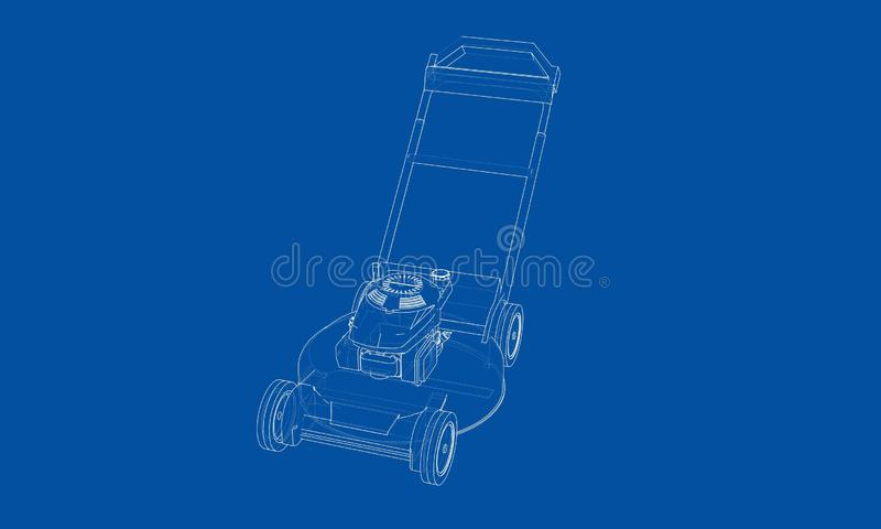 Outline lawn mower vector. Wire-frame style. The layers of visible and invisible lines. 3D illustration stock illustration