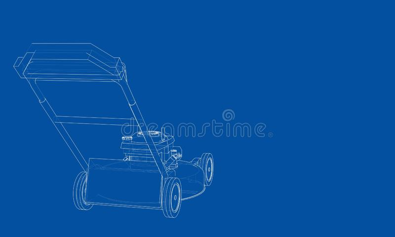 Outline lawn mower vector. Wire-frame style. The layers of visible and invisible lines. 3D illustration royalty free illustration
