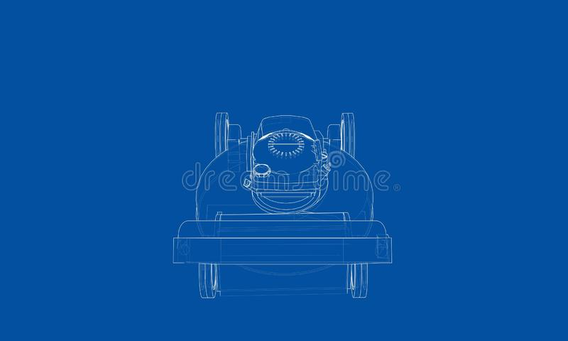 Outline lawn mower vector. Wire-frame style. The layers of visible and invisible lines. 3D illustration vector illustration
