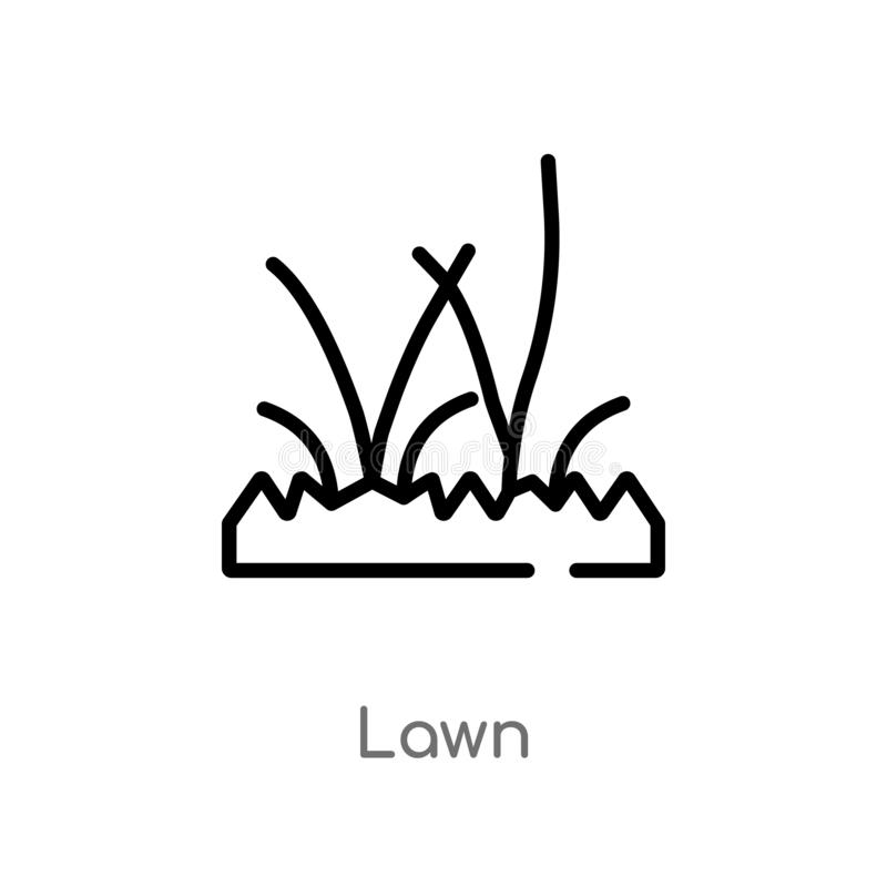 Outline lawn vector icon. isolated black simple line element illustration from gardening concept. editable vector stroke lawn icon. On white background royalty free illustration